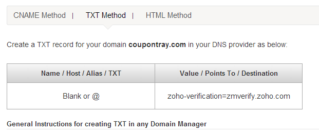 Zoho Domain Verification
